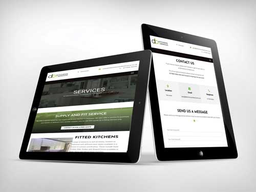 website design tablet for db kitchens and bedrooms